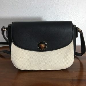 David Jones Paris Crossbody Cream Black Purse NWOT